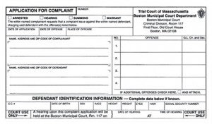 Massachusetts Criminal Complaint Application