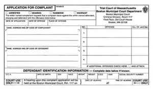 Application for a Criminal Complaint in Massachusetts
